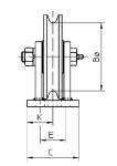Vooraanzicht staalkabelschijfstoel