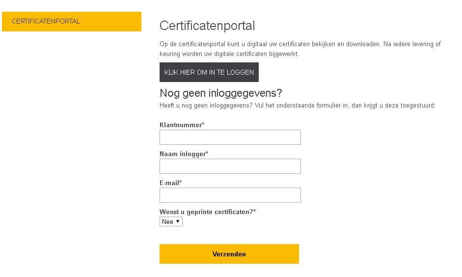 Certificatenportal inlogscherm